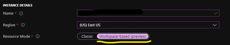 application insights log workspaces